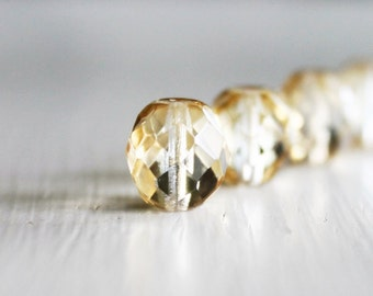 12 Clear Clarit Faceted 10mm Rounds - Czech Glass Beads