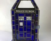 Doctor Who TARDIS Mosaic Mini Stained Glass Lantern in Wispy Blue-Made to order