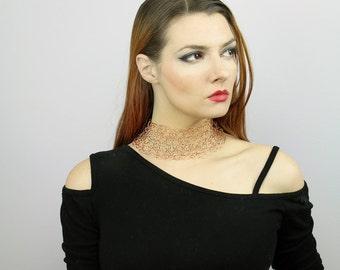 Crochet Copper Choker Necklace Collar of  Wire