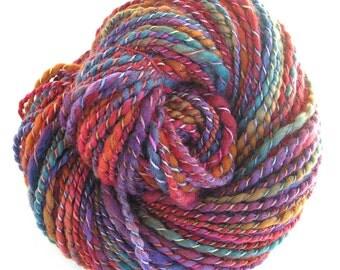 Handspun Yarn Hand Dyed Yarn BFL Wool Silk Bulky Yarn Art Yarn Chunky Yarn 172 yards - Gypsy Sparkle