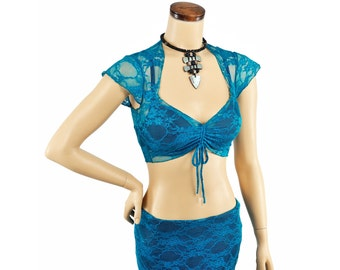 Amira Top - Turquoise Lace