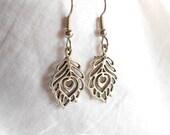 Feather Earrings Charm Earrings Silver Earrings Surgical Steel Earrings Drop Earrings