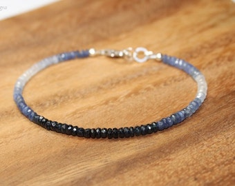 Blue Sapphire Ombre Bracelet, Sapphire Jewelry, September Birthstone, Something Blue, Gemstone Bracelet