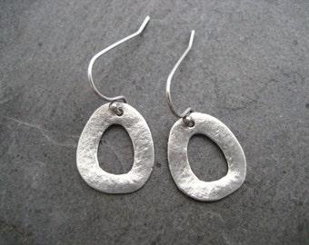 Simple earrings, everyday earrings, silver dangle, odd shape, triangular earrings, textured earrings, casual earrings, handmade