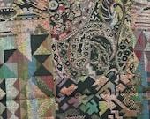 3/4 YARD 1, BROCADE, Black Multicolor, Craft or Drapery Fabric, Geometric Shapes Circles Swirls, Medium Weight, Cotton Metallic Thread, B16