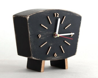 Black Clock Table, Wood Desk Clock, Unique home decor gift ideas, Wooden Distressed Mantel clock, for Father, Summer decor for home