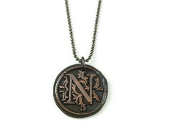 Letter N Necklace | Wax Seal Initial Pendant Necklace in Copper | Double-Sided Letters | Handcrafted Personalized Monogram Jewelry