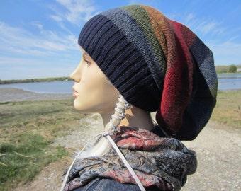Slouchy Dreadlock Tam Beanie Hat Rainbow Striped Warm Winter Wool Knit Dread Tube Navy Blue A1990