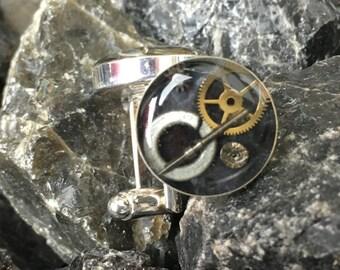 Watch Parts Resin Cuff Links (Cufflinks) OOAK #2  Silver Plated