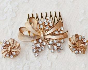 Authentic TRIFARI Brooch Hair Comb & Matching Hair Pins,Brushed Gold Pearl Hair Comb,Ribbon,Bow,Classic,Elegant,Repurposed,Heirloom,Designer