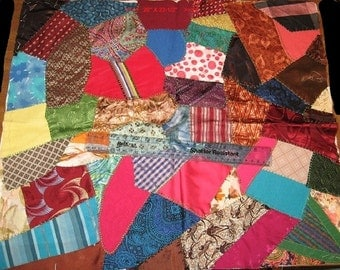 """Hand Sewn Vintage Crazy Quilt Top, 20"""" X 22.5"""" Silk Satin Velvet Textured Fabric for Pillow, Tote Bag, Crafts Sewing Clean Project Ready S2"""