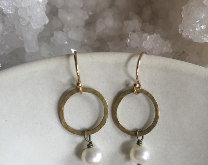 Hammered Brass Earrings with Fresh water Pearls, Elegant, Simple Gold Earrings
