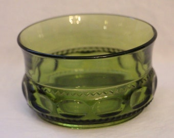 Set of 5 Indiana Glass King's Crown Olive Green Desert/Berry Bowls