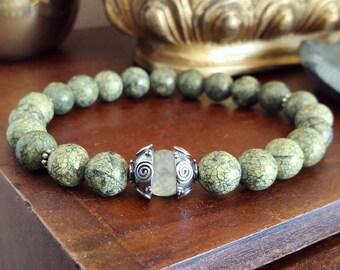 Celtic Bracelet - Serpentine Bracelet with Prehnite, Beaded Yoga Bracelet, Faceted Green Stone Mala for Protection, Kundalini, Chakras
