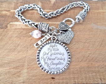 GIFT for BRIDE from Mom, Mother Daughter Keepsake Jewelry, My little girl, My Friend, My Daughter, INITIAL, Love between Mother and daughter
