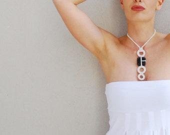 Minimal necklace, black and white , crochet necklace, ceramic pendant, minimalist jewelry, modern pendant necklace, gift idea