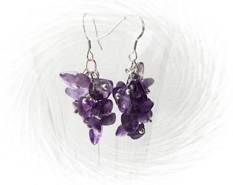 Amethyst Earrings - Cluster Amethyst Chips Earrings - Dangle Earrings - Purple Earrings