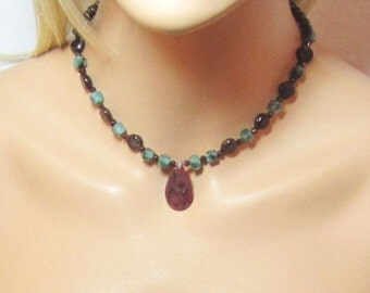 Ruby Necklace, Emerald Necklace, Rubies Emeralds, Genuine Ruby, India Rubies, Red and Green