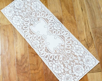 Vintage Romantic Home Heirloom White Rose Adorned Lace Table Scarf, Olives and Doves