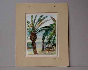 Watercolour of Menton South of France Palm trees French landscape painting Signed art H B Hunter Palm trees and sea, Mediterranean landscape