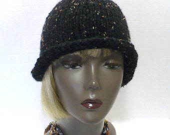 Black Tweed Cloche -  Rolled Brim Hat, Hand Knit Retro Hat, Twenties Style Knitted Hat, Handmade in the USA, Ready to Ship