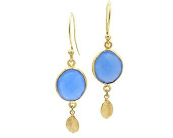 Blue Chalcedony Earrings, Gemstone Drop Earrings, Gold Leaf Earrings
