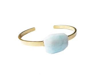 Aquamarine Bracelet, Aquamarine Stone Cuff