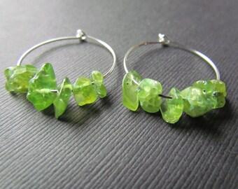 25% OFF SALE Peridot Earrings - Green Gemstone Hoop Earrings - Peridot Jewelry