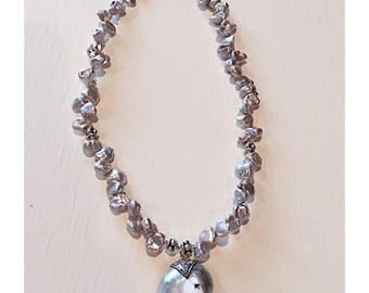 Sterling Silver & Freshwater Pearl Silver Bluish Gray Beaded Necklace