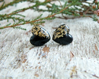 Black gold stud earrings high fashion jewelry valentines day gift for her gold heart earrings black heart studs gold earrings black earrings