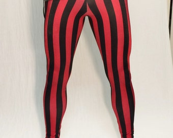 Red & Black Striped Circus Meggings // Steampunk Leggings // Pirate Pants // Renaissance tights // Clown Leggings