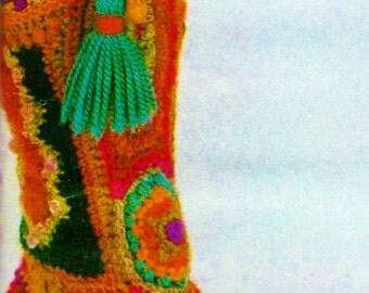 Boho Boot Slippers Vintage Crochet Pattern Download