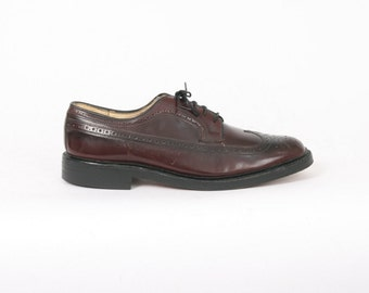 American GENTLEMAN Mens US 11.5 D Oxblood Leather Brogues Lace Up Wingtip Vintage Oxfords Formal Dress Black Cherry Au 11 Made In Usa Shoes