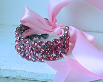 Bridal Cuff Bracelet, Pink Bridal Bracelet, Crystal Bracelet, Bridal Jewelry Trends 2017, Ribbon Bracelet, Cuff Bracelet
