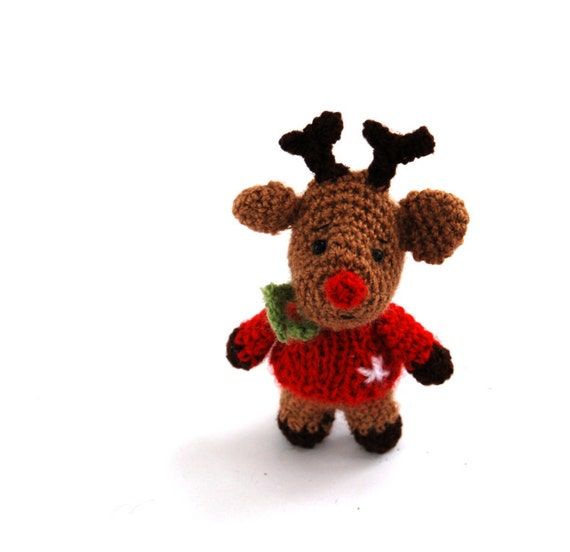 Rudolf, the red nose reindeer, crocheted minature reindeer, christmas gift Santa Claus's reindeer tiny little cute winter amigurumi