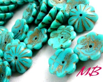 10 pcs Turquoise Large Czech Glass Beads Mix, 14mm Bell and Flower Beads, Textured Old Patina Cup Flower Beads