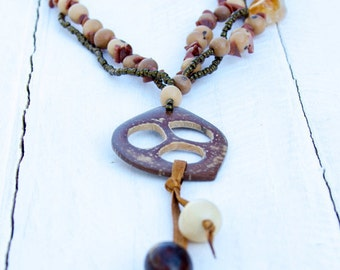 Palm Shell Opal Citrine Long Necklace/ Natural Seeds, Gold Stone