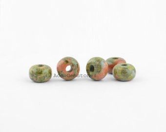 Unakite Big Hole Smooth Rondelle Beads, Gemstone Rondelle European Style Large Hole Beads For Necklace and Bracelet - 5 Pcs.