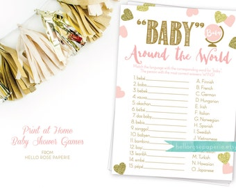 Baby Around the World . Baby in different languages . Pink and Gold Baby Shower Game . Printable Instant Download . Baby Shower Games