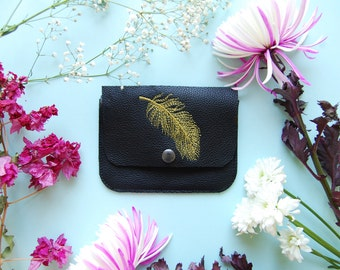 embroidery purse, leather coin purse, embroidery bag, coin purse, credit card holder, mother's day gift, gift for women
