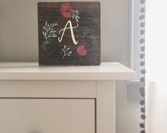 Hand Lettered + Modern Calligraphy + Custom Monogram Wreath + Wood Sign