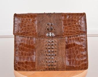 Vintage Structured Cognac Leather Shoulder Bag