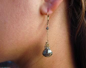 Pyrite Earrings, Grey Gemstone Earrings, Rustic Earrings, Geometric Earrings, Cluster Earrings, Long Grey Earring, Gold Grey Earring, Bihls
