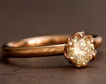 Champagne Diamond Engagement Ring, Rose Gold Tulip Solitaire Ring