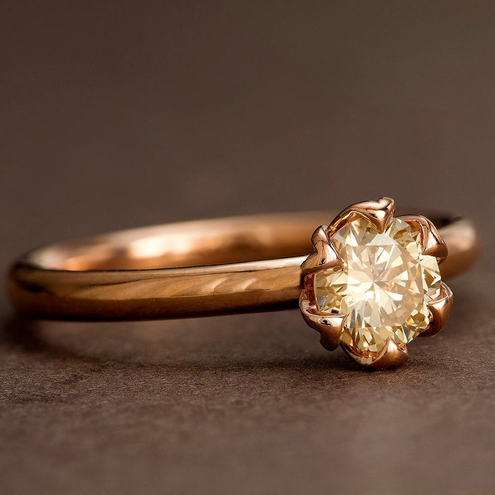 champagne diamond engagement ring rose gold tulip solitaire