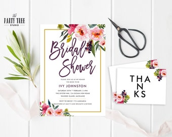 Bridal Shower Invitation , Floral Bridal Shower Invite , Floral Bridal Shower Invite  , 5x7 , A6 , Floral Bridal Shower