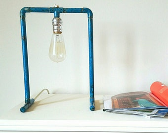 Copper Table Lamp with Blue Patina
