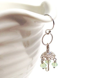 Umbrella earring, rain earring, cute earring, sterling silver, swarovski earring, dainty earring, gift for her, mint, raindrop earring