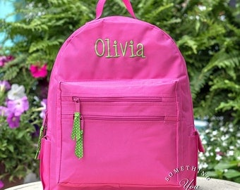 Personalized Name Backpack - Personalized Custom Solid Color Hot Pink Navy Green Black School Girls Back Pack Boys kids childrens