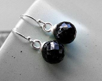 Black spinel earrings, spinel silver earrings, black silver earrings, black spinel jewellery, spinel drop earrings, sterling silver earrings